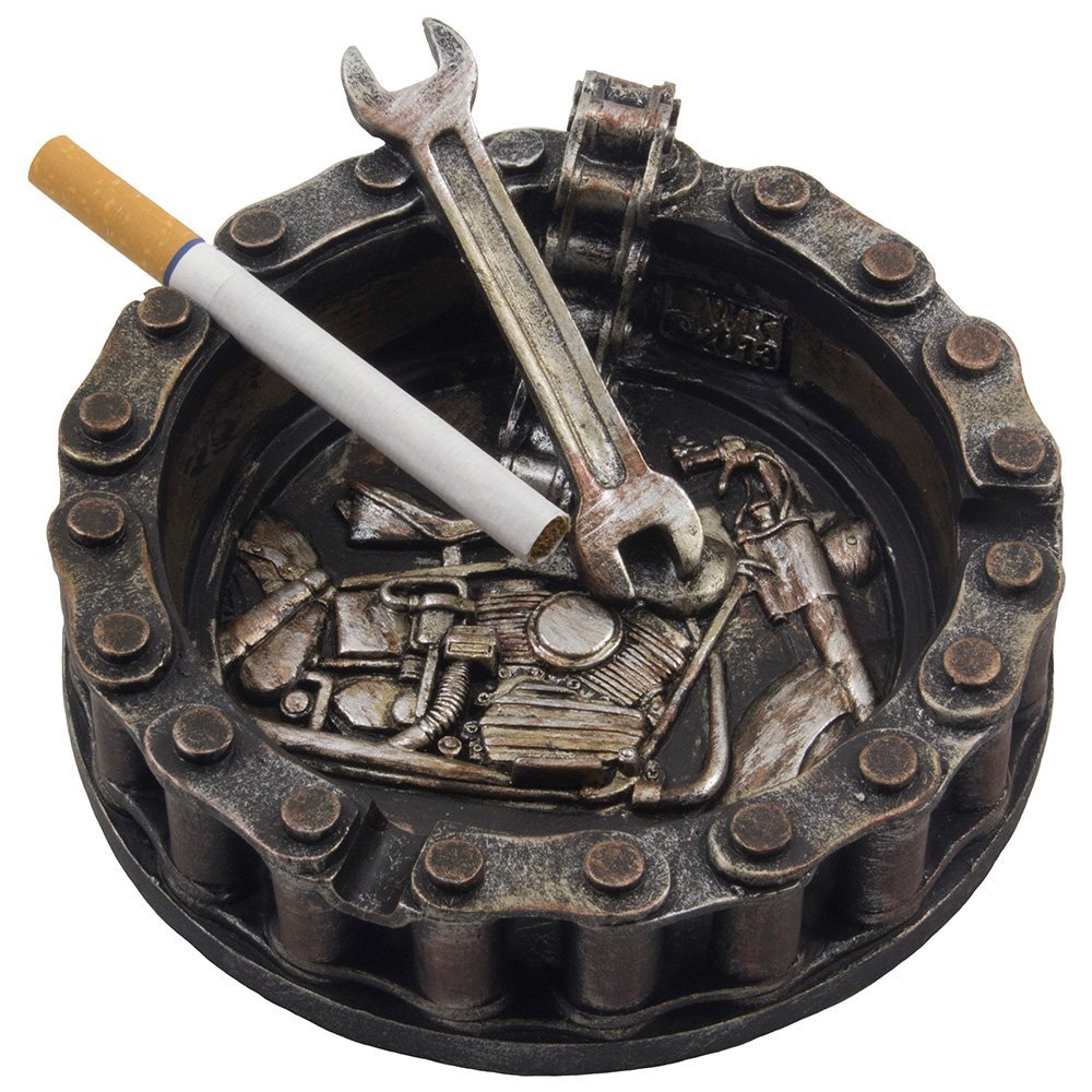 Decorative Motorcycle Chain Ashtray With Wrench And Bike