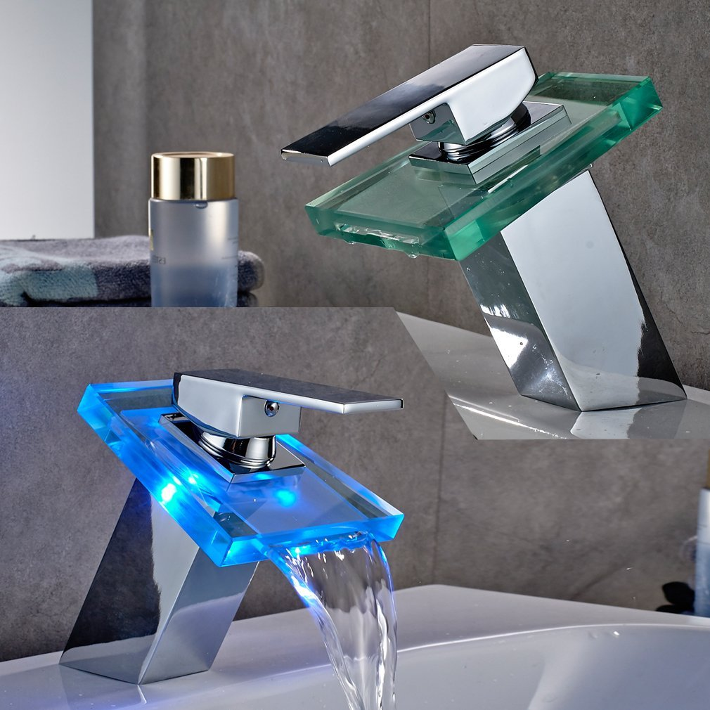 keran faucet temperature multi air colors led sensor color water changing