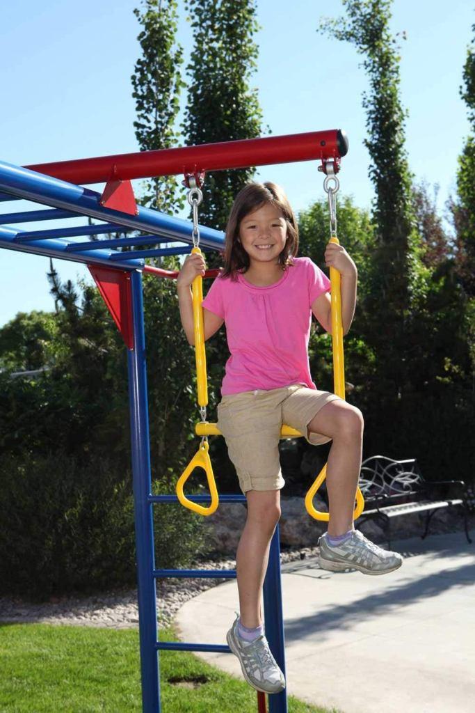 Monkey Bar Adventure Swing Set With 9 Foot Wavy Slide